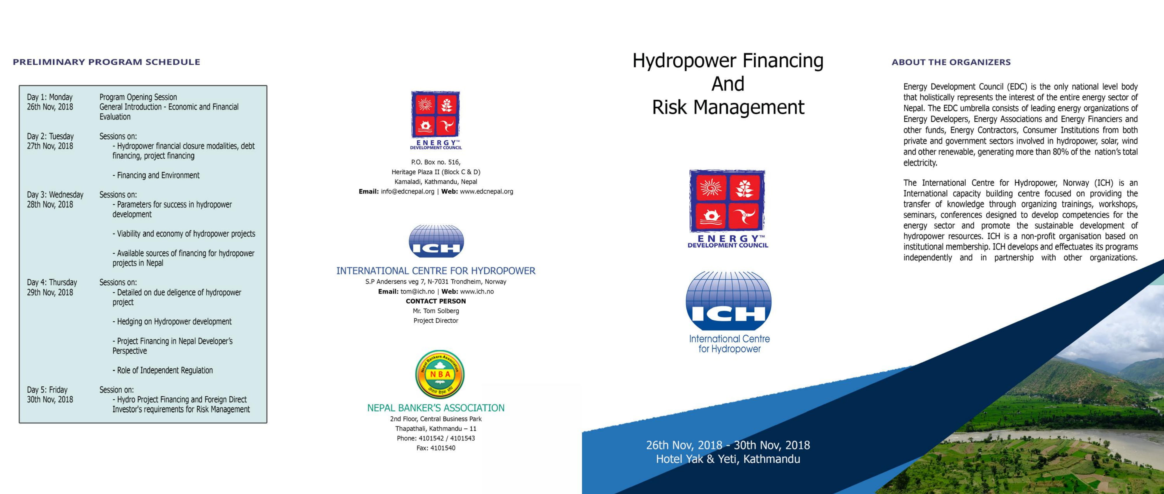 "Training Workshop on "" Hydropower Financing & Risk Management"""